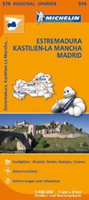 Michelin Karte Estremadura, Kastilien-La Mancha, Madrid. Espana Centro, Castilla-La Mancha, Madrid
