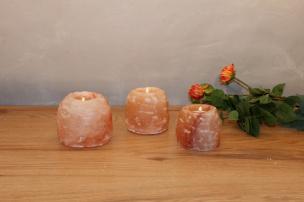 Salzkristall Teelichthalter Rock klein