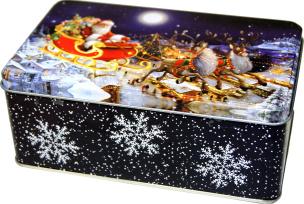 festliche Weihnachts-Gebäckdose, gefüllt mit leckerem Weihnachtsgebäck