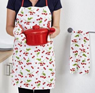 Küchen-Textilset 4tlg. mit Kirschdesign