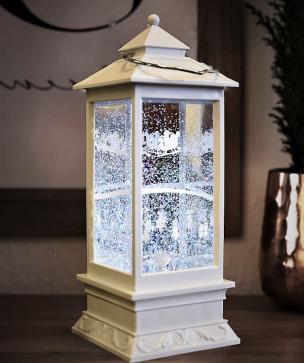 LED Schneelaterne weiß