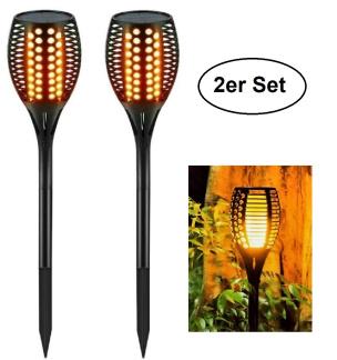 2er Set LED-Fackel mit Flammeneffekt in Schwarz