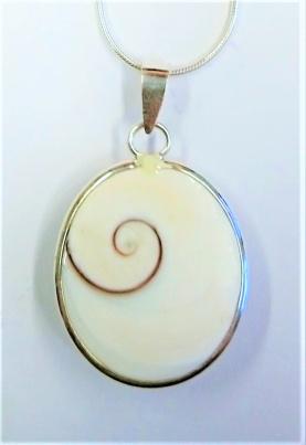 Anhänger Shivas Auge gefasst in Silber Si925