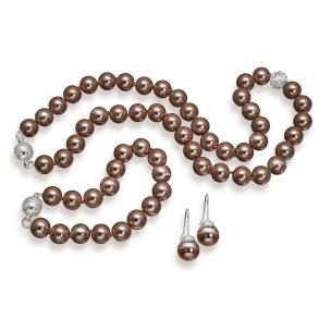 3er-Set: Glasperlenkette, Armband und Ohrhänger braun
