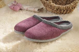 Walker-Pantoffeln mit Filz-Sohle (violett) Gr.36