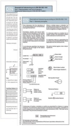 Geometrical tolerancing according to DIN EN ISO 1101:2014, 2 Fold-out leaflets. Pt.1+2