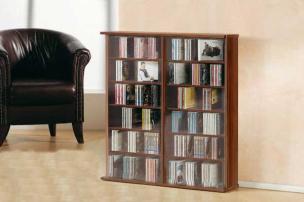 """CD/DVD-Regal """"Ronul"""" kern-nussbaum,  300 CDs, ohne Glastür"""